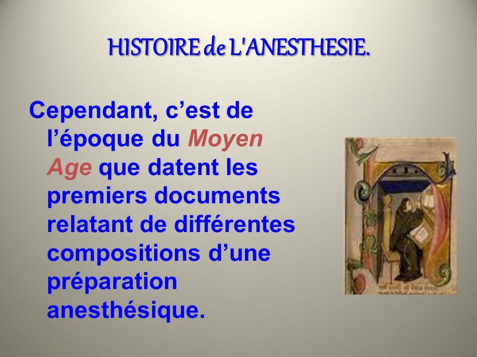 4 Juin 2010 HISTOIRE de L ANESTHESIE.