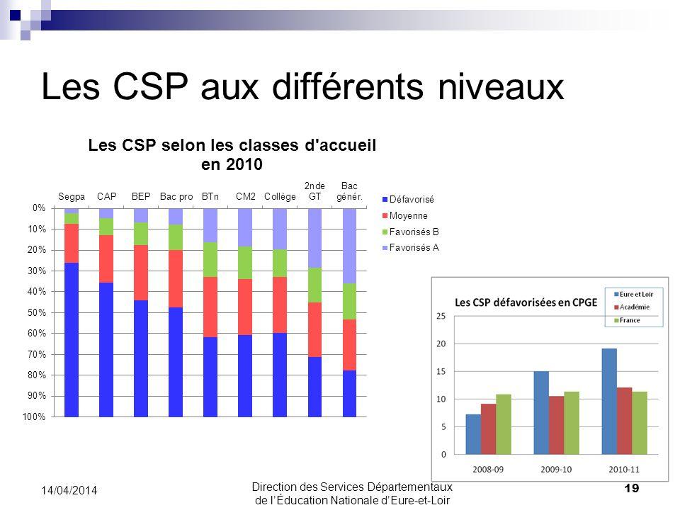 Les CSP aux différents niveaux 14/04/2014 19 Direction des Services Départementaux de lÉducation Nationale dEure-et-Loir