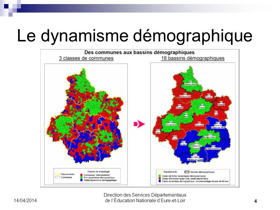 Le dynamisme démographique 14/04/2014 4 Direction des Services Départementaux de lÉducation Nationale dEure-et-Loir