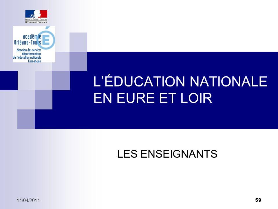 LÉDUCATION NATIONALE EN EURE ET LOIR LES ENSEIGNANTS 14/04/2014 59