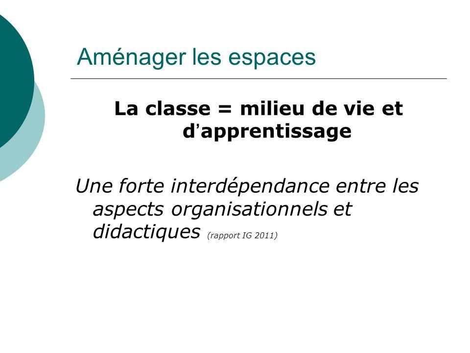 Aménager les espaces La classe = milieu de vie et dapprentissage Une forte interdépendance entre les aspects organisationnels et didactiques (rapport