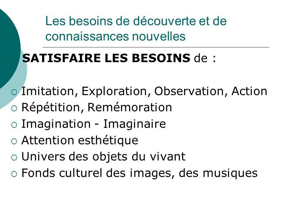 Les besoins de découverte et de connaissances nouvelles SATISFAIRE LES BESOINS de : Imitation, Exploration, Observation, Action Répétition, Remémorati