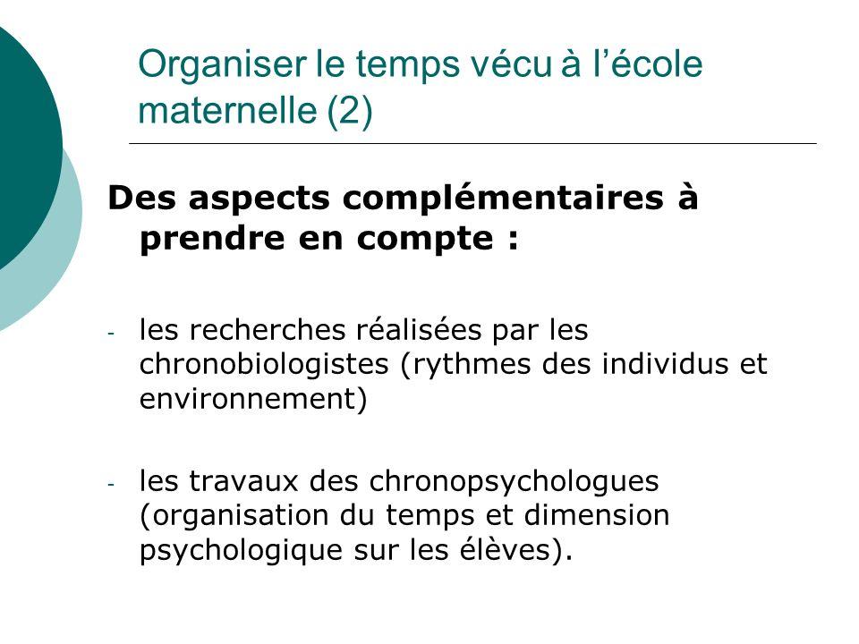 Organiser le temps vécu à lécole maternelle (2) Des aspects complémentaires à prendre en compte : - les recherches réalisées par les chronobiologistes