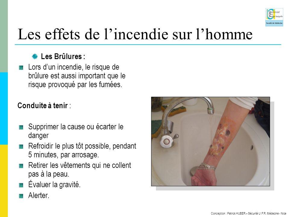 Conception : Patrick HUBER – Sécurité U.F.R. Médecine - Nice Les effets de lincendie sur lhomme Les Brûlures : Lors dun incendie, le risque de brûlure