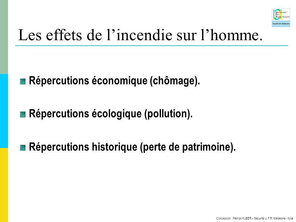 Conception : Patrick HUBER – Sécurité U.F.R. Médecine - Nice Les effets de lincendie sur lhomme. Répercutions économique (chômage). Répercutions écolo