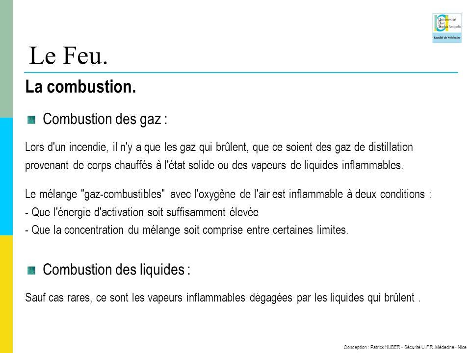 Conception : Patrick HUBER – Sécurité U.F.R. Médecine - Nice Le Feu. La combustion. Combustion des gaz : Lors d'un incendie, il n'y a que les gaz qui