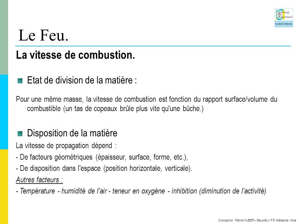 Conception : Patrick HUBER – Sécurité U.F.R. Médecine - Nice Le Feu. La vitesse de combustion. Etat de division de la matière : Pour une même masse, l