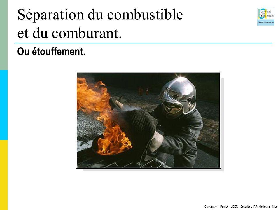 Conception : Patrick HUBER – Sécurité U.F.R. Médecine - Nice Séparation du combustible et du comburant. Ou étouffement.