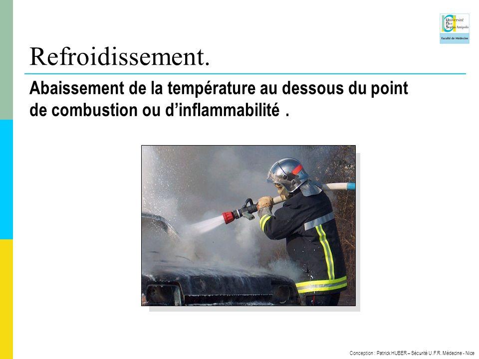 Conception : Patrick HUBER – Sécurité U.F.R. Médecine - Nice Refroidissement. Abaissement de la température au dessous du point de combustion ou dinfl