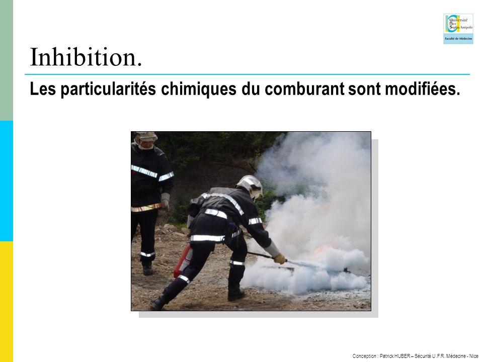 Conception : Patrick HUBER – Sécurité U.F.R. Médecine - Nice Inhibition. Les particularités chimiques du comburant sont modifiées.