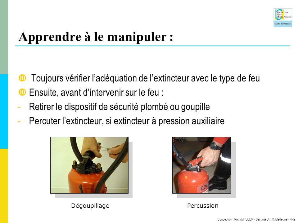 Conception : Patrick HUBER – Sécurité U.F.R. Médecine - Nice Apprendre à le manipuler : Toujours vérifier ladéquation de lextincteur avec le type de f