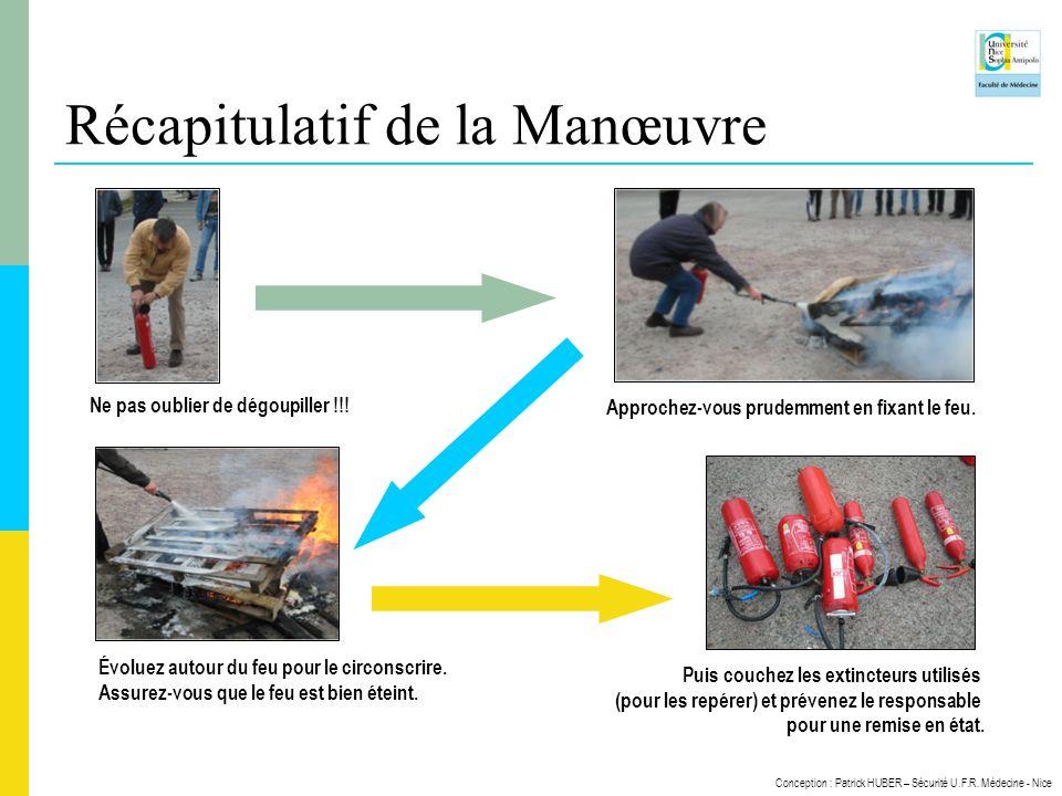 Conception : Patrick HUBER – Sécurité U.F.R. Médecine - Nice Ne pas oublier de dégoupiller !!! Approchez-vous prudemment en fixant le feu. Évoluez aut