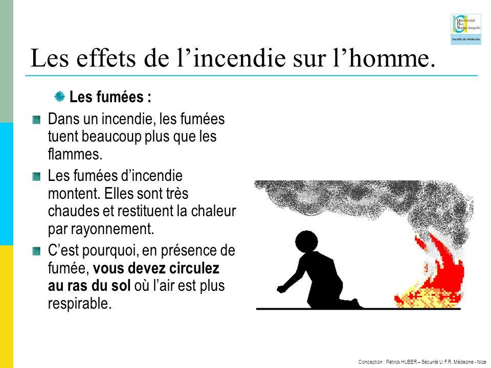Conception : Patrick HUBER – Sécurité U.F.R. Médecine - Nice Les effets de lincendie sur lhomme. Les fumées : Dans un incendie, les fumées tuent beauc