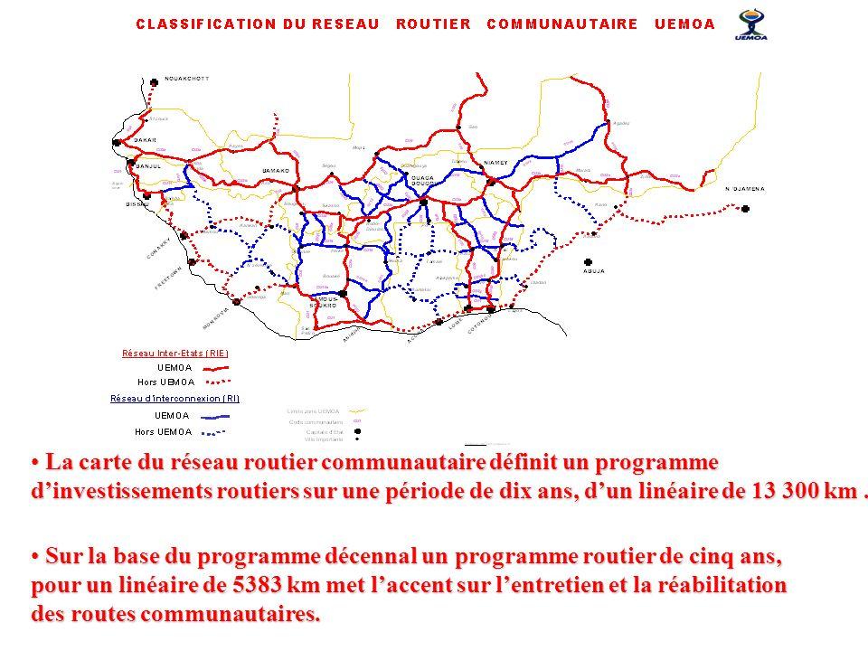 La carte du réseau routier communautaire définit un programme dinvestissements routiers sur une période de dix ans, dun linéaire de 13 300 km. La cart