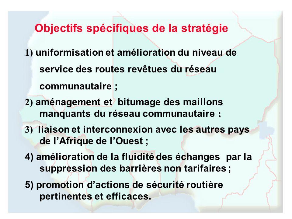 1) uniformisation et amélioration du niveau de service des routes revêtues du réseau communautaire ; 2) aménagement et bitumage des maillons manquants