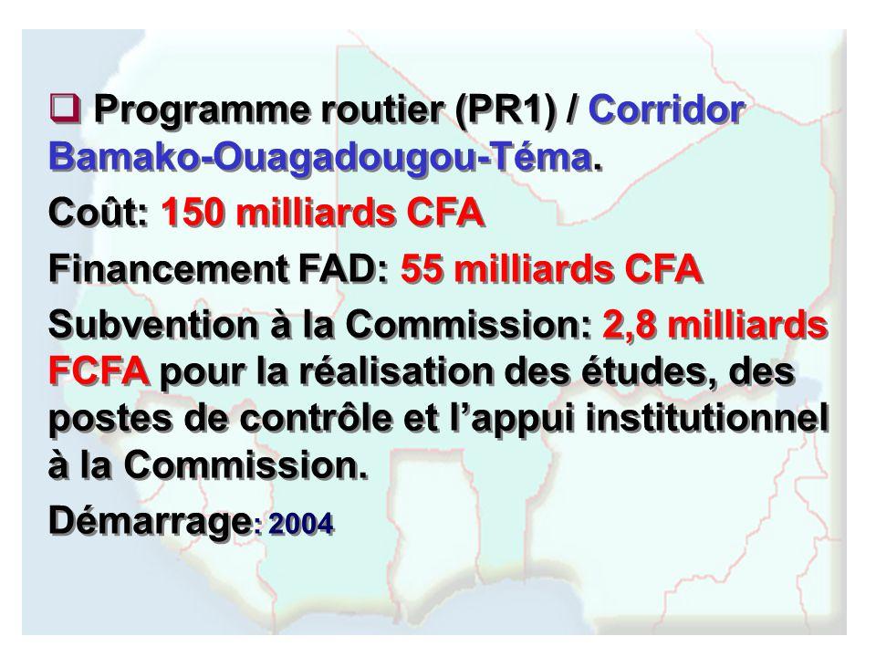 Programme routier (PR1) / Corridor Bamako-Ouagadougou-Téma. Coût: 150 milliards CFA Financement FAD: 55 milliards CFA Subvention à la Commission: 2,8