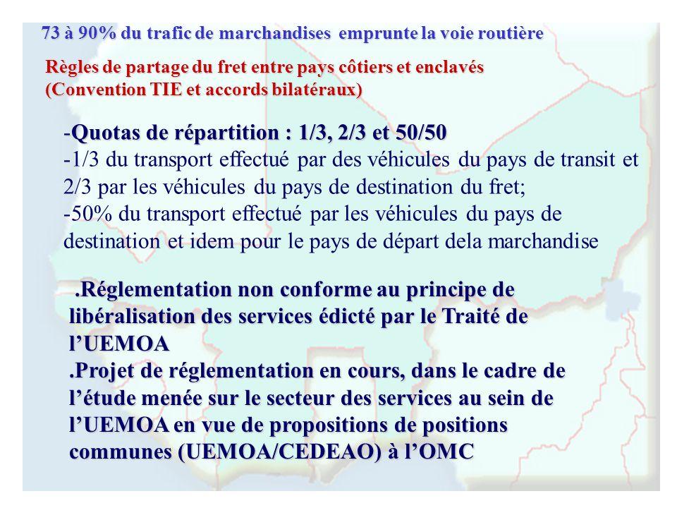 -Quotas de répartition : 1/3, 2/3 et 50/50 - -1/3 du transport effectué par des véhicules du pays de transit et 2/3 par les véhicules du pays de desti