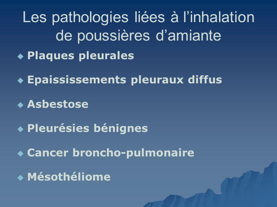 Les pathologies liées à linhalation de poussières damiante Plaques pleurales Epaississements pleuraux diffus Asbestose Pleurésies bénignes Cancer bron