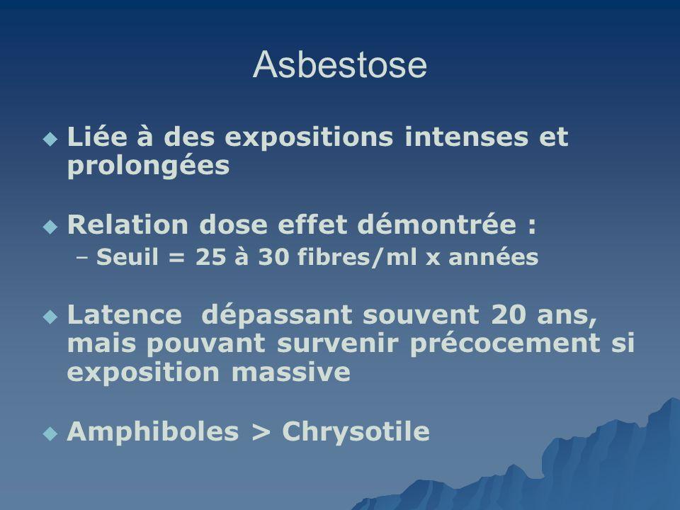 Asbestose Liée à des expositions intenses et prolongées Relation dose effet démontrée : – –Seuil = 25 à 30 fibres/ml x années Latence dépassant souven