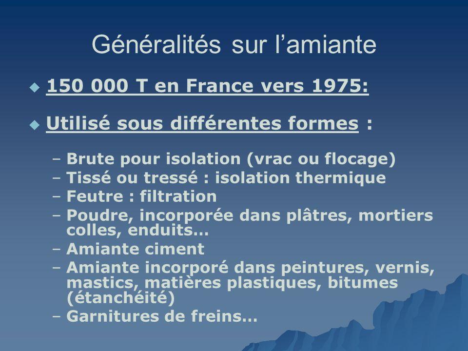 Généralités sur lamiante 150 000 T en France vers 1975: Utilisé sous différentes formes : – –Brute pour isolation (vrac ou flocage) – –Tissé ou tressé