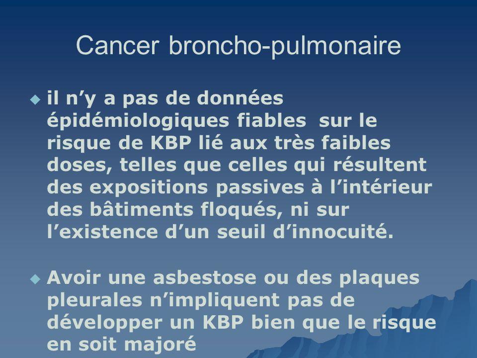 Cancer broncho-pulmonaire il ny a pas de données épidémiologiques fiables sur le risque de KBP lié aux très faibles doses, telles que celles qui résul