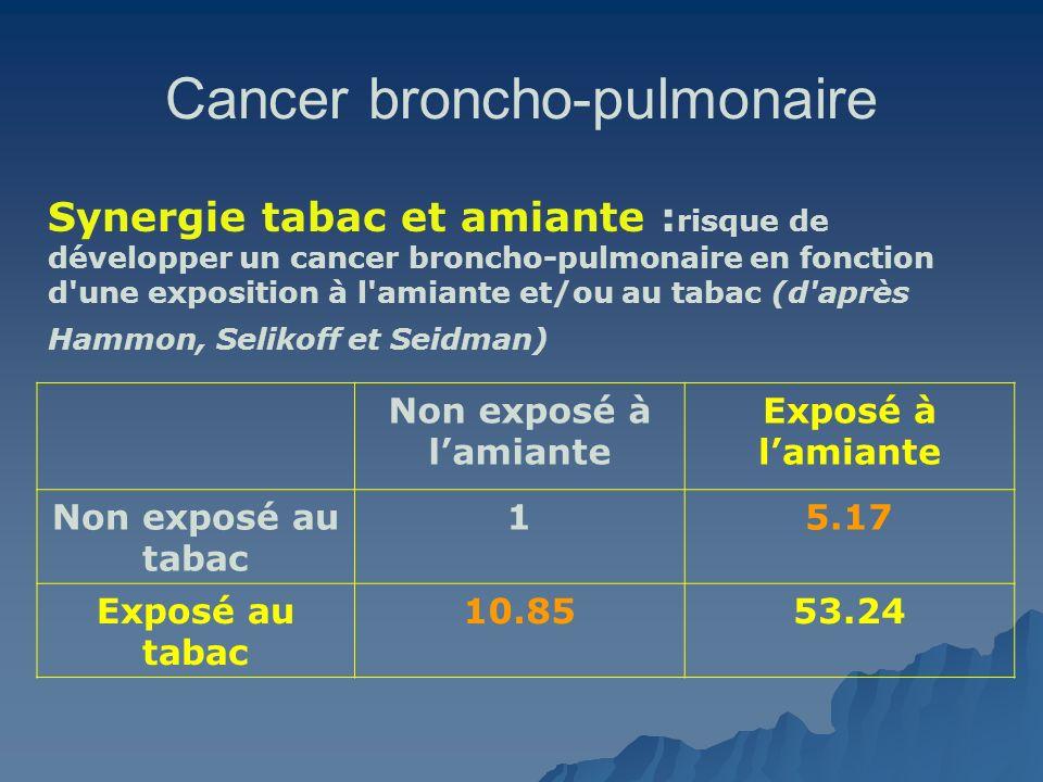 Cancer broncho-pulmonaire Synergie tabac et amiante : risque de développer un cancer broncho-pulmonaire en fonction d'une exposition à l'amiante et/ou