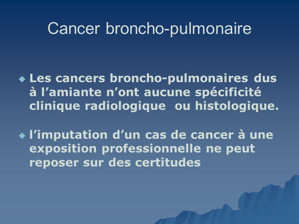 Cancer broncho-pulmonaire Les cancers broncho-pulmonaires dus à lamiante nont aucune spécificité clinique radiologique ou histologique. limputation du
