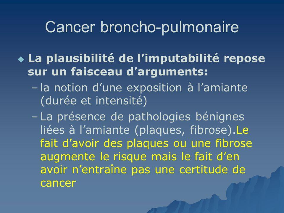 Cancer broncho-pulmonaire La plausibilité de limputabilité repose sur un faisceau darguments: – –la notion dune exposition à lamiante (durée et intens