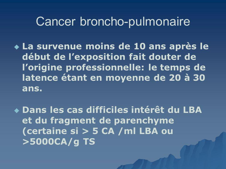 Cancer broncho-pulmonaire La survenue moins de 10 ans après le début de lexposition fait douter de lorigine professionnelle: le temps de latence étant