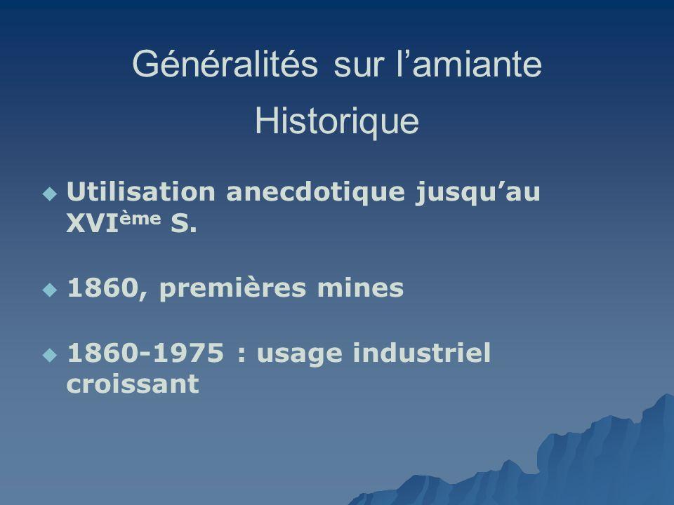 Généralités sur lamiante Historique Utilisation anecdotique jusquau XVI ème S. 1860, premières mines 1860-1975 : usage industriel croissant