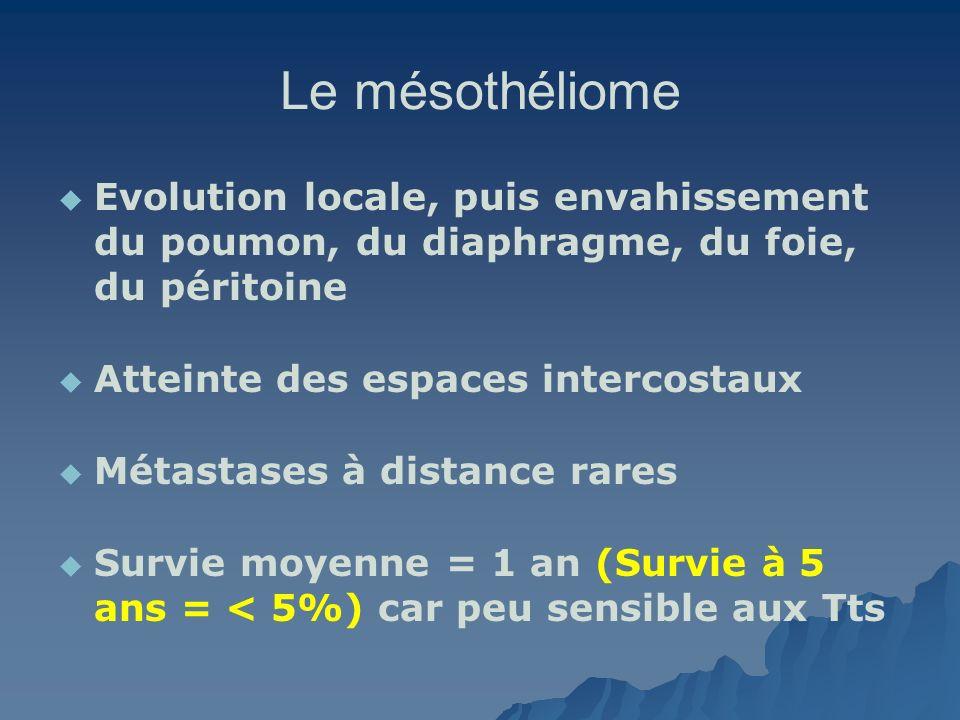 Le mésothéliome Evolution locale, puis envahissement du poumon, du diaphragme, du foie, du péritoine Atteinte des espaces intercostaux Métastases à di