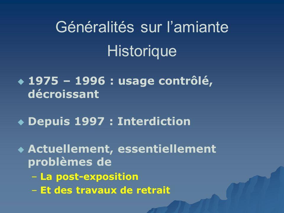 Généralités sur lamiante Historique 1975 – 1996 : usage contrôlé, décroissant Depuis 1997 : Interdiction Actuellement, essentiellement problèmes de –
