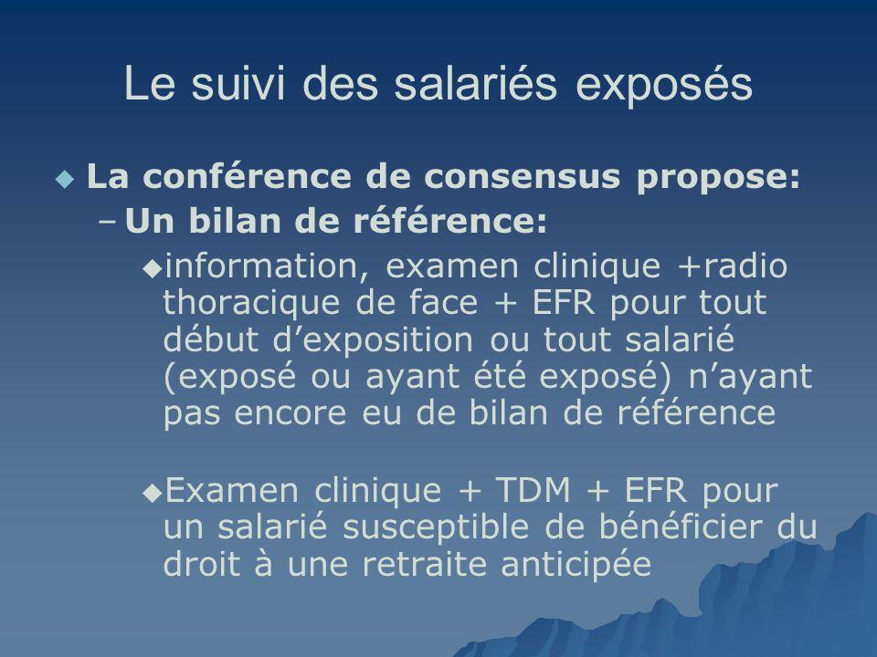 Le suivi des salariés exposés La conférence de consensus propose: – –Un bilan de référence: information, examen clinique +radio thoracique de face + E