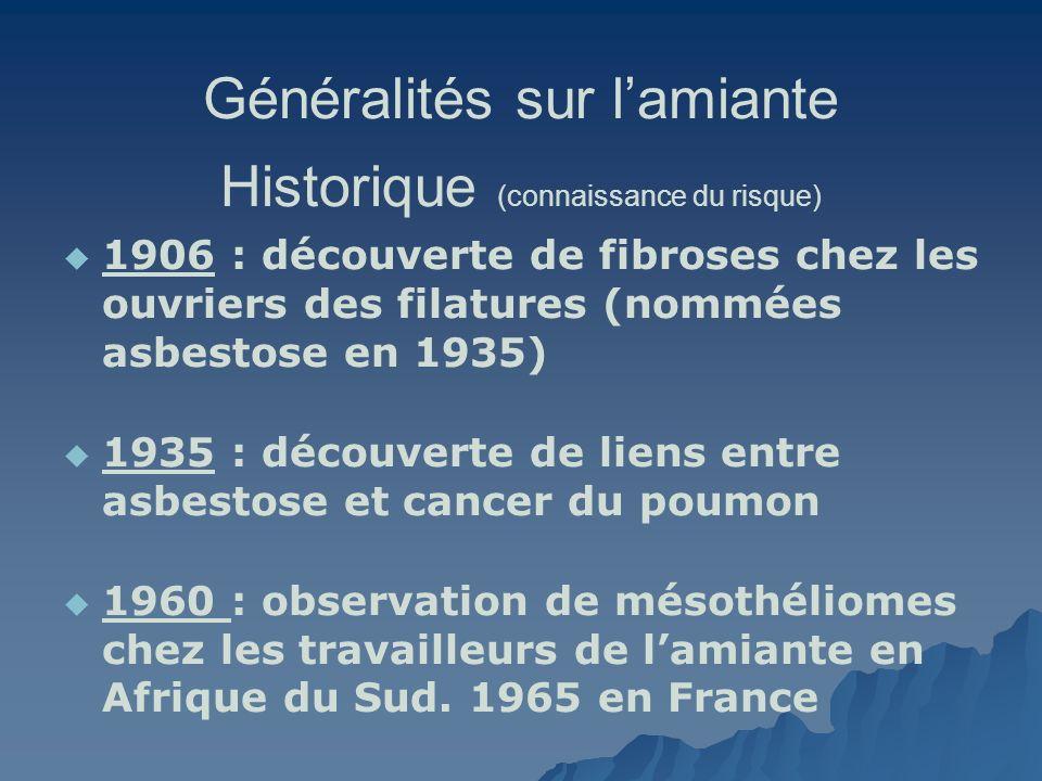 Généralités sur lamiante Historique (connaissance du risque) 1973 : Amphiboles classées cancérogènes par CIRC, puis toutes les formes dAmiante (1977) 1982 : les VLE ne protègent pas du risque Cancer 1996 : Expertise collective INSERM : interdiction totale et abaissement des VLE