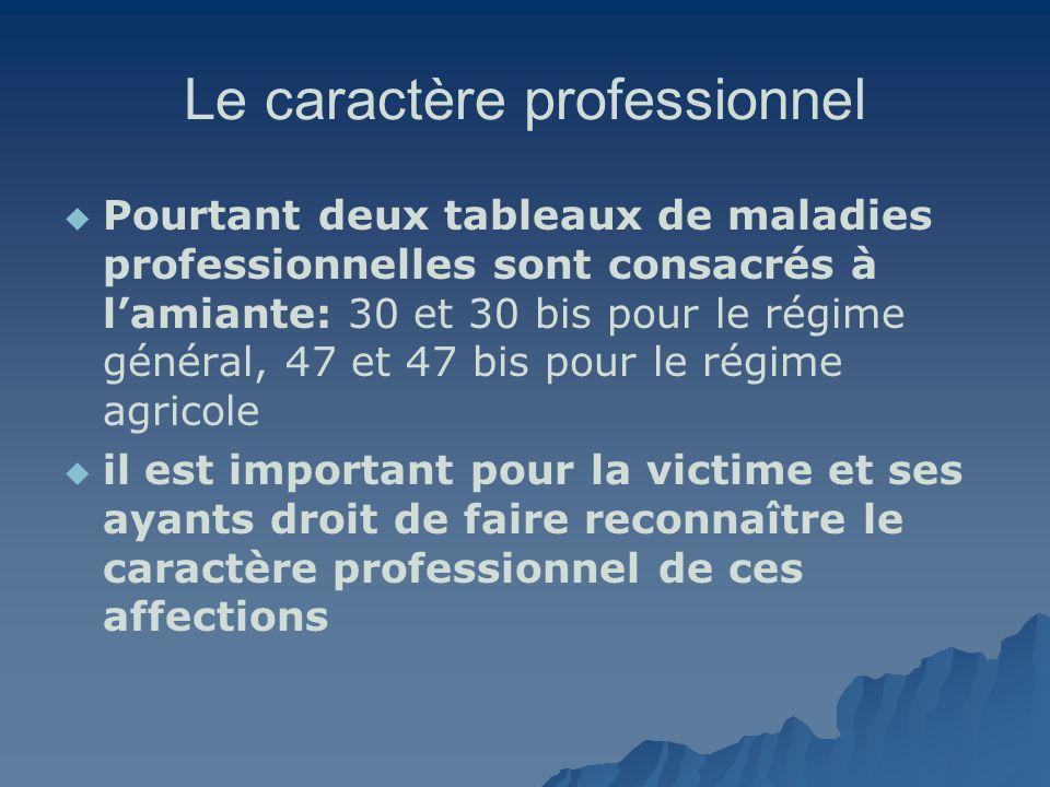 Le caractère professionnel Pourtant deux tableaux de maladies professionnelles sont consacrés à lamiante: 30 et 30 bis pour le régime général, 47 et 4