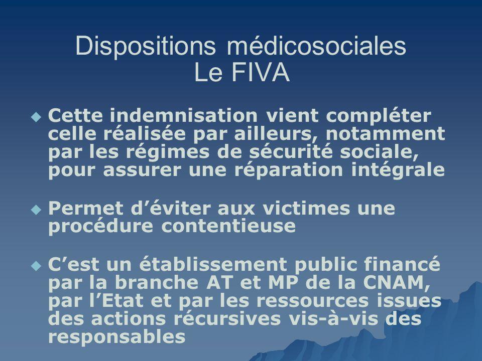 Dispositions médicosociales Le FIVA Cette indemnisation vient compléter celle réalisée par ailleurs, notamment par les régimes de sécurité sociale, po