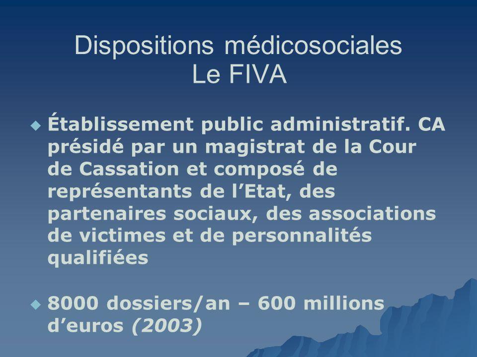 Dispositions médicosociales Le FIVA Établissement public administratif. CA présidé par un magistrat de la Cour de Cassation et composé de représentant