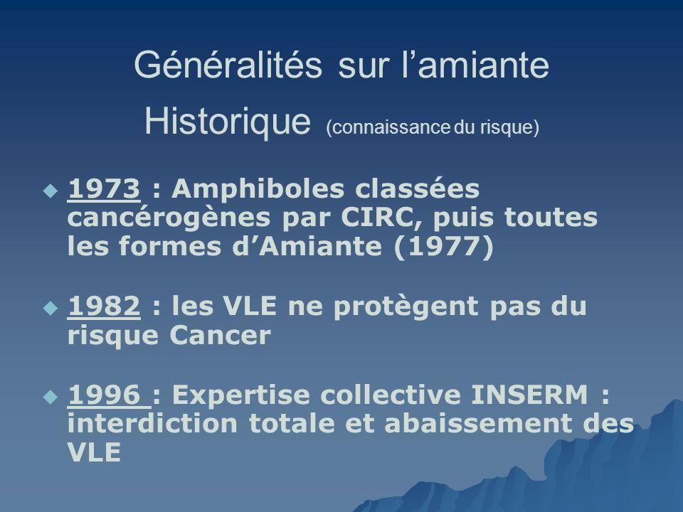 Généralités sur lamiante Historique (connaissance du risque) 1973 : Amphiboles classées cancérogènes par CIRC, puis toutes les formes dAmiante (1977)