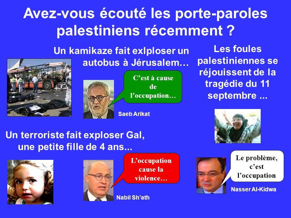 Avez-vous écouté les porte-paroles palestiniens récemment ? Un kamikaze fait exlploser un autobus à Jérusalem… Un terroriste fait exploser Gal, une pe