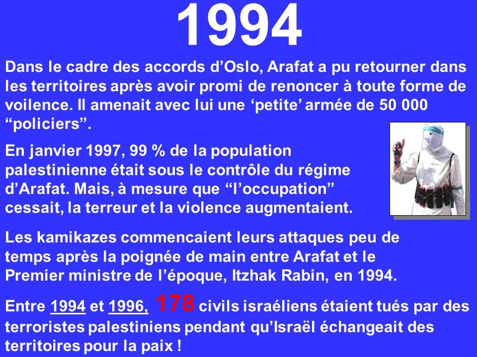 Dans le cadre des accords dOslo, Arafat a pu retourner dans les territoires après avoir promi de renoncer à toute forme de voilence. Il amenait avec l