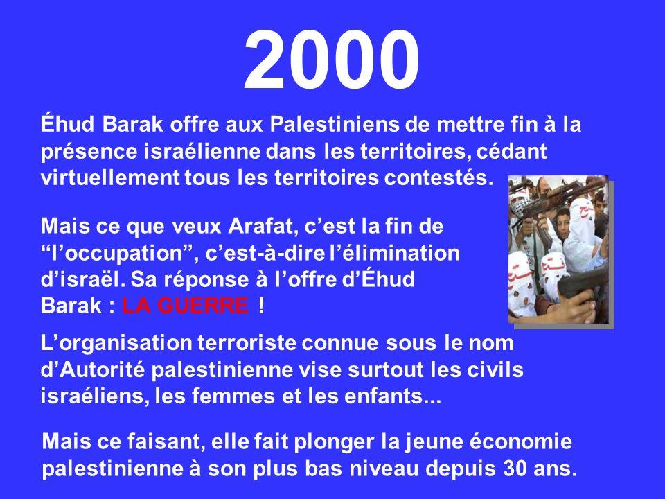 Éhud Barak offre aux Palestiniens de mettre fin à la présence israélienne dans les territoires, cédant virtuellement tous les territoires contestés. M