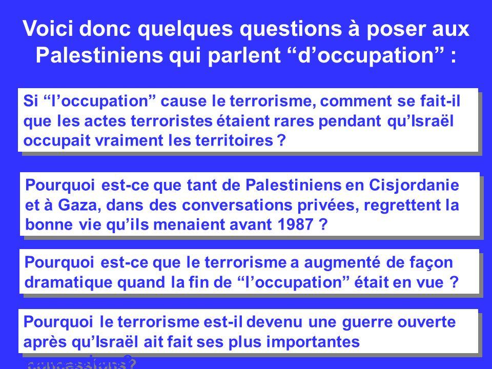 Voici donc quelques questions à poser aux Palestiniens qui parlent doccupation : Si loccupation cause le terrorisme, comment se fait-il que les actes