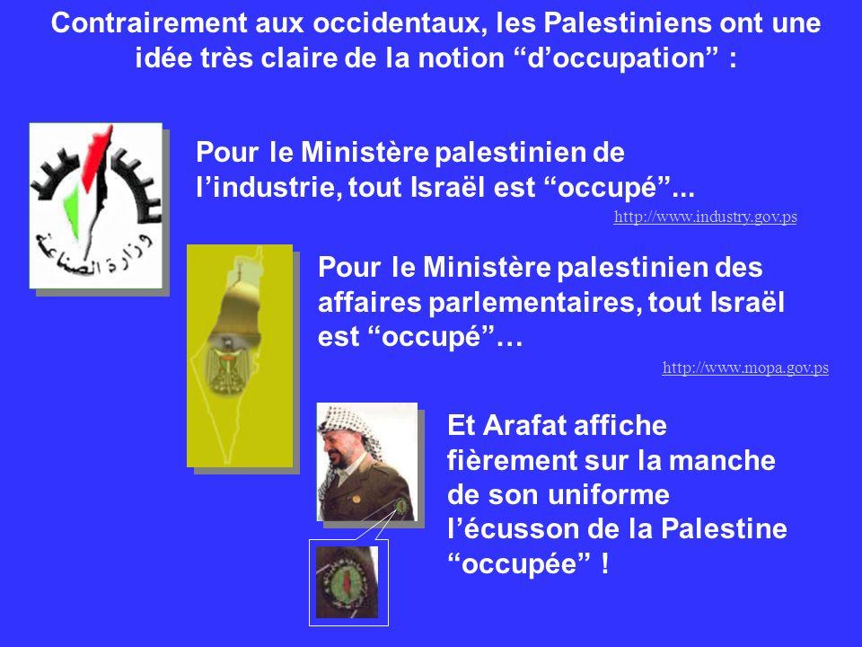 Pour le Ministère palestinien de lindustrie, tout Israël est occupé... Contrairement aux occidentaux, les Palestiniens ont une idée très claire de la