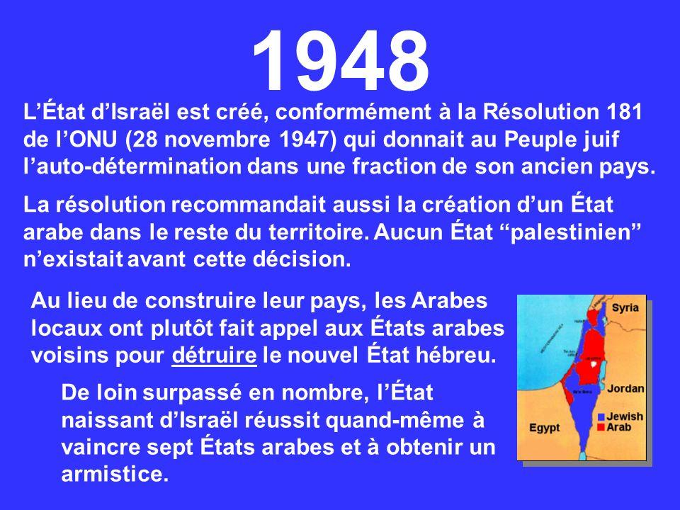 LÉtat dIsraël est créé, conformément à la Résolution 181 de lONU (28 novembre 1947) qui donnait au Peuple juif lauto-détermination dans une fraction d