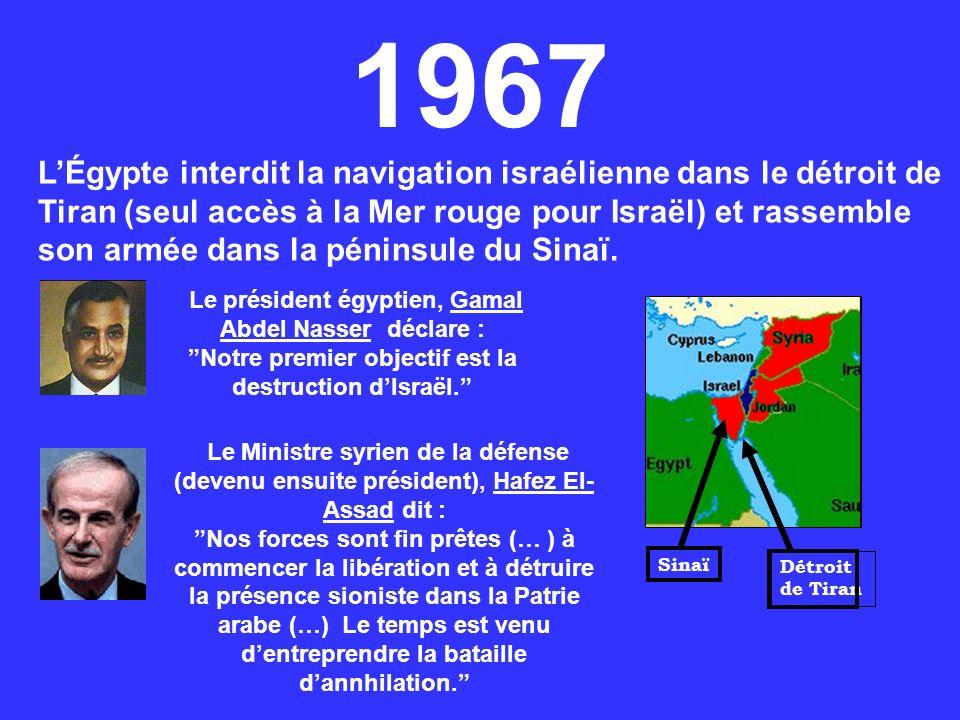 1967 LÉgypte interdit la navigation israélienne dans le détroit de Tiran (seul accès à la Mer rouge pour Israël) et rassemble son armée dans la pénins