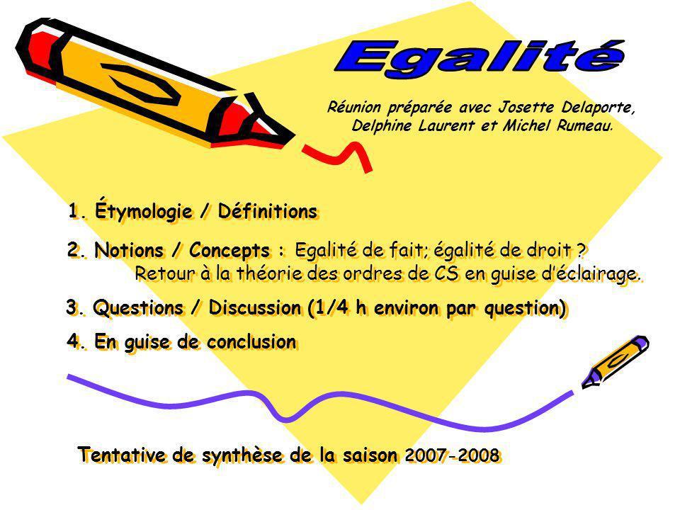 1. Étymologie / Définitions 2. Notions / Concepts : Egalité de fait; égalité de droit ? Retour à la théorie des ordres de CS en guise déclairage. 3. Q