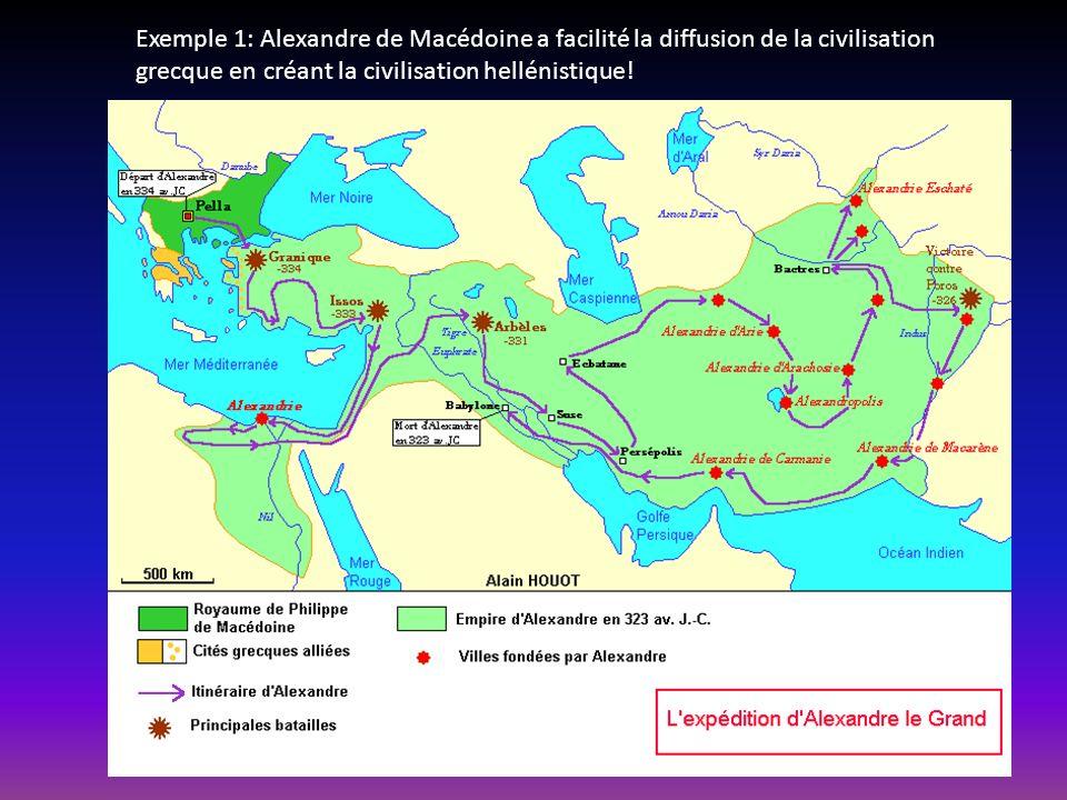 Exemple 1: Alexandre de Macédoine a facilité la diffusion de la civilisation grecque en créant la civilisation hellénistique!