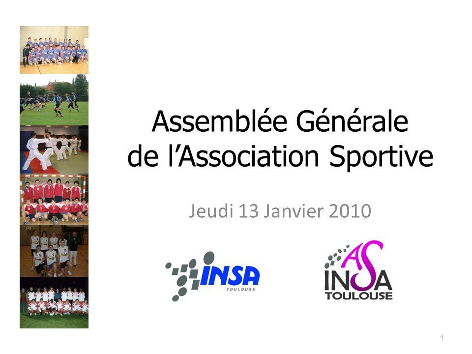 Assemblée Générale de lAssociation Sportive Jeudi 13 Janvier 2010 1