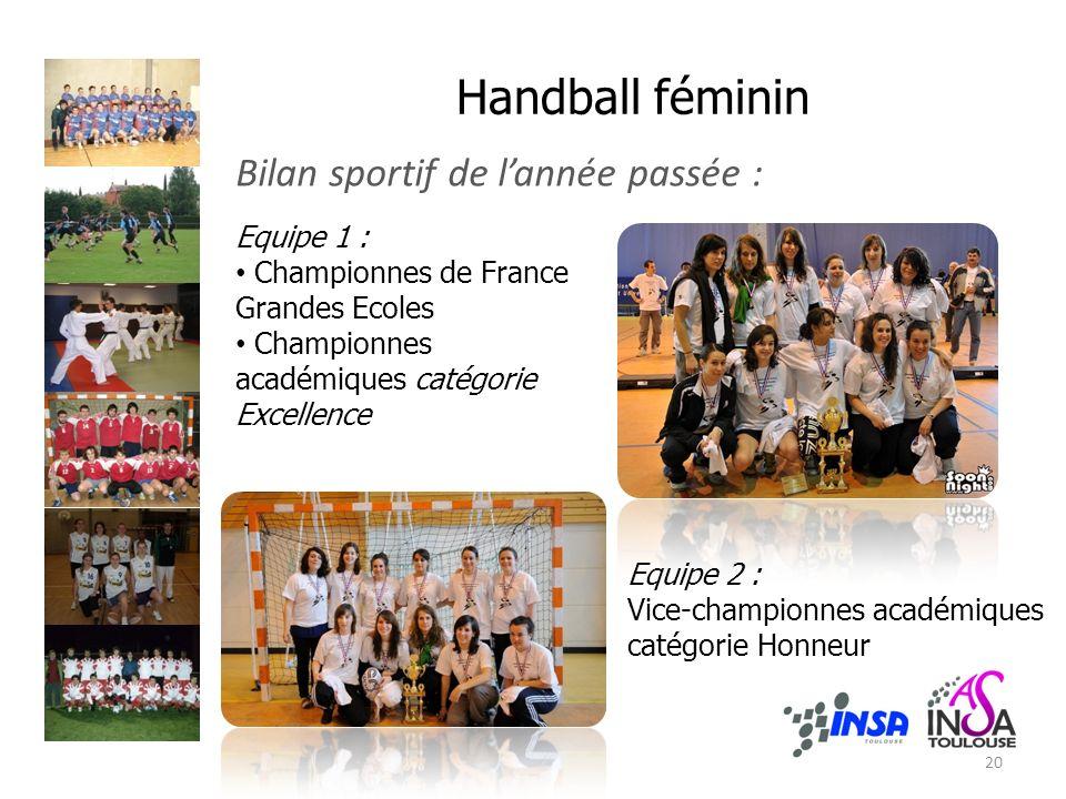 Handball féminin Bilan sportif de lannée passée : Equipe 1 : Championnes de France Grandes Ecoles Championnes académiques catégorie Excellence Equipe
