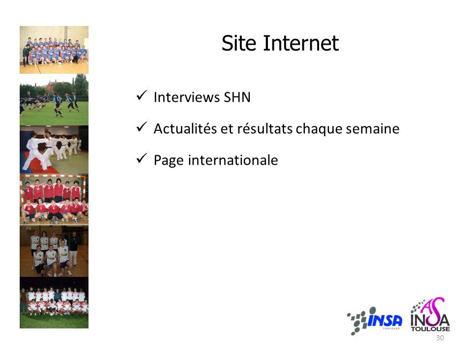 Site Internet Interviews SHN Actualités et résultats chaque semaine Page internationale 30